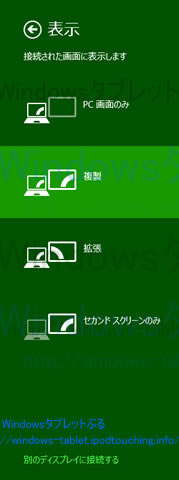 Windows8.1表示、ミラーリング設定