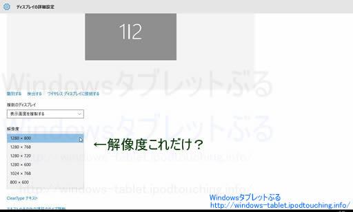 Windows10アップグレード後、解像度の選択肢が減った